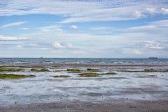 Küstenlandschaft in Schottland, Großbritannien, Kirkcaldy Niedrige Gezeiten-Effekt Stockbild