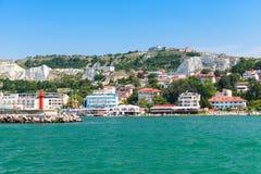 Küstenlandschaft von Balchik-beliebtem Erholungsort Lizenzfreies Stockfoto