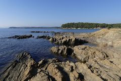 Küstenlandschaft von südlich von Frankreich Lizenzfreie Stockbilder