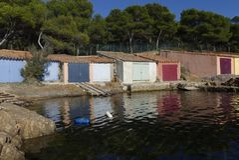Küstenlandschaft von südlich von Frankreich Lizenzfreies Stockfoto