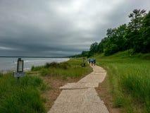 Küstenlinie auf Michigansee in WI Stockfoto