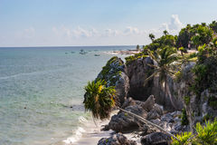 Küstenlinie bei Tulum, Mexiko Lizenzfreies Stockfoto