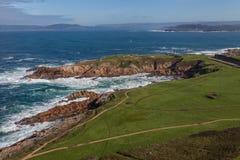 Küstenlinie in Coruna Spanien Stockfotografie