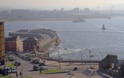 Küstenlinie in der Stadt Gijon gelegen an nördlich von Spanien Lizenzfreie Stockfotografie