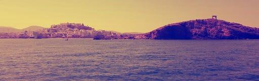 Küstenlinie des Hafens von Naxos, Griechenland Lizenzfreies Stockfoto