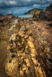 Küstenlinie im Wind, Neuseeland Stockfotos