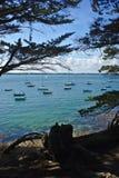 Küstenlinie, Küste und Strand der Inselzusatzmönche in Bretagne im Morbihan La Frankreich stockfotos