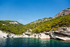 Küstenlinie mit Felsen und Wald Lizenzfreies Stockfoto