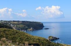 Küstenlinie und schönes Meer, Süd-Italien, Kalabrien 2 Stockfotografie