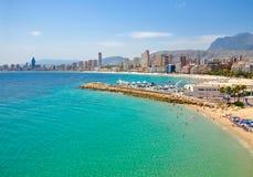 Küstenlinie von Benidorm, Spanien stockbilder
