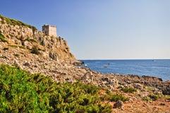 Küstenlinie von Porto Selvaggio Stockbilder