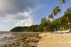 Küstenlinielandschaft mit dem Gezeitenerlöschen stockbild