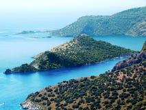 Küstenlinienlandschaft des Mittelmeertruthahns Stockbild