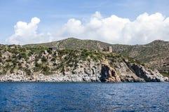 Küstenlinienpanorama Sardegna-Insel Sardinien Italien des schönen Ozeans felsige Lizenzfreie Stockfotos