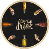 Küstenmotorschiff für Alkohol trinkt mit der Flasche und Hand halten Glas mit Bier, Whisky, Tequila, Rum stock abbildung
