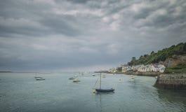 Küstenstadt in Wales am Sommer Lizenzfreie Stockbilder