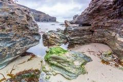 Küstenstandort um Trevaunance-Bucht in Cornwall England Großbritannien Stockfotos