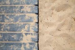 Küstenstrand-Sand u. die Promenade Stockfotos