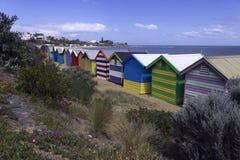 Kąpać się pudełka przy Brighton plażą obraz stock
