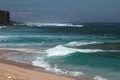 Kąpać się strefę na Boucan Canot plaży, spotkanie Zdjęcia Royalty Free