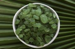 kąpielowa liść palmy sól Fotografia Stock