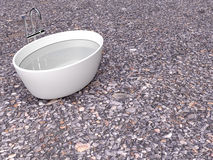 Kąpielowa tubka na skały ścianie, 3d Zdjęcie Stock