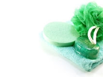 Kąpielowy chuch i gąbka z ręcznikiem na białym tle Fotografia Royalty Free