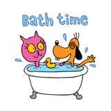 Kąpielowy czas śliczny kot i psi charaktery - ilustracja wektor