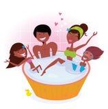 kąpielowych dzieci ciemna rodzinna skóry balia dwa royalty ilustracja