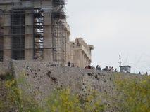 Kąt Ateński akropol z kolumnami w metal strukturach zdjęcie royalty free