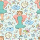 Kąt dziewczyny gwiazdowej chmury bezszwowy wzór ilustracji