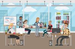 kąta biznesowego biznesmena słuchający niscy biurowi partnera ludzie target2429_1_ kanapę przeglądać royalty ilustracja