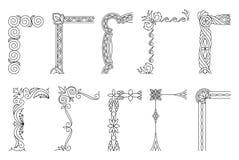 Kąta projekta elementy, rocznik rama z pięknymi filigree, dekoracyjnymi granicami, r?wnie? zwr?ci? corel ilustracji wektora ilustracja wektor