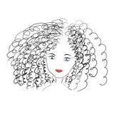 Kędzierzawa dziewczyna z niebieskimi oczami ilustracji