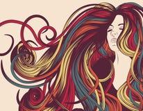 kędzierzawego twarzy włosy długa s kobieta royalty ilustracja