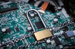 Kędziorek na deskowej podłączeniowej technologii Zdjęcia Stock