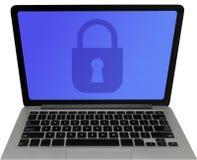 Kłódka na laptopu ekranie - dane ochrony pojęcie zdjęcie royalty free