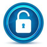 Kłódki ikony otwartej gałki ocznej round błękitny guzik royalty ilustracja