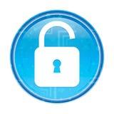 Kłódki otwartej ikony round kwiecisty błękitny guzik royalty ilustracja