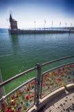 Kłódki w schronieniu Konstanz miasto z widokiem jeziornego Constance Konstanz jest miastem lokalizować w zachodu kącie Niemcy zdjęcie stock