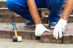 Kłaść Brukowe cegiełki mozaiki zakończeniem Fotografia Stock