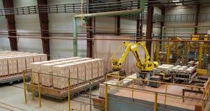 Kłaść cegły na barłogach w manifacturing warsztacie zdjęcie royalty free