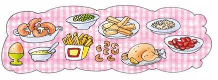 Kłaść stołowy z różowym tablecloth i jedzeniem Zdjęcie Stock