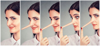 Kłamcy transformacja Kobieta z długim nosem Zdjęcia Stock