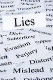 Kłamstwa pojęcie w słowach obraz stock