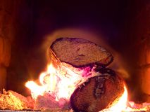 kłody płonące ogień Obrazy Stock