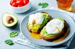 Kłusować jajeczne Avocado żyta grzanki Fotografia Royalty Free