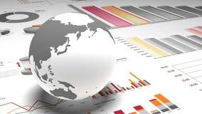 4k、转动的地球模型在财务圆图&企业趋向用图解法表示 影视素材