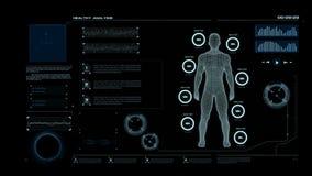 4K与人导线框架身体的动画HUD头显示接口荒地关心和医疗未来派技术概念的
