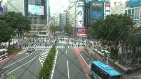 4K与人群行人交叉路涩谷摄象机的亚洲妇女录音  股票视频